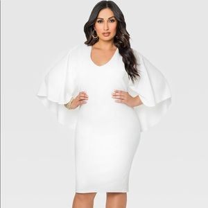 Ashley Stewart White Textured Knit Cape Dress